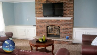 Interior Livingroom Modernizing With White Trim, Mantle, Wainscoting, Crown Moulding