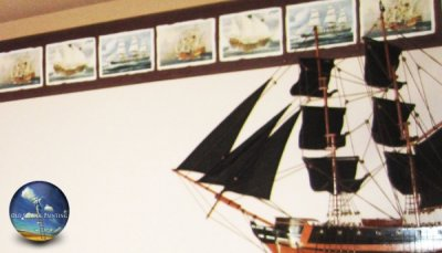 All aboard this nautical interior room theme painted walls, ceiling and border