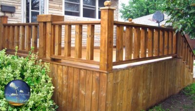 1yr Old Front Deck, Stairs, & Railings Finishing, Staining & Wood Weatherproofing