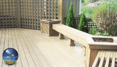 Wash, stain and weatherproof this private backyard deck, bench and planters